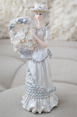 Southern Belle Bell Girl Figurine Flower Basket Silver White Home Decor- Le Petit Pain
