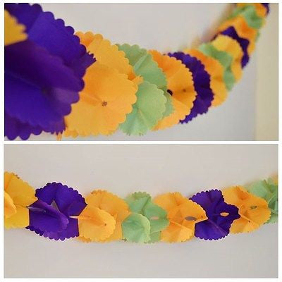12 Ft Mardi Gras Party Paper Garland Purple Orange Green