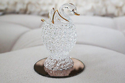 Vintage Hand Blown Glass Swan with Gold Trim Decor Figurine Gift Ideas Handmade- Le Petit Pain
