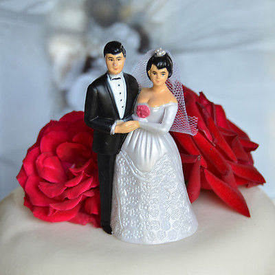 Vintage Bride and Groom Cake Topper Short Black Hair and Veil- Le Petit Pain