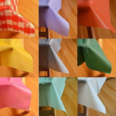 "54"" x 108"" Rectangle Plastic Table Cover Table Cloth Multiple Colors! Durable"