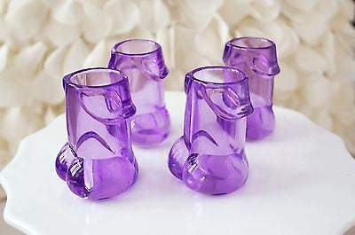 4 Clear Purple Pecker Shot Glasses Plastic Bachelorette Party Penis Shot Glass - le petit pain