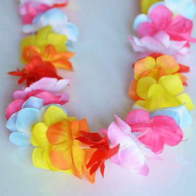 Nani Pua Lei Multi Color Rainbow Flower Lei Luau Necklace Favor Hula