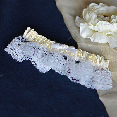 Ivory White Satin Garter with Pearls and Lace Wedding Bridal Accessories- Le Petit Pain