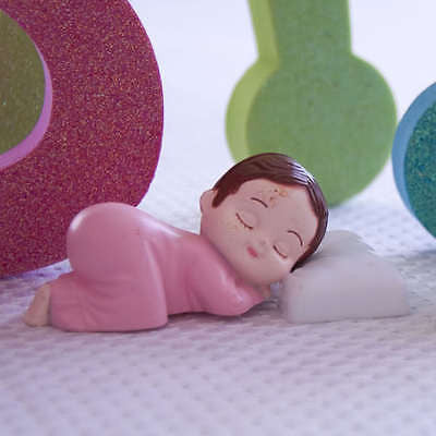 2 Pink Pajama Smiling Baby Girl Sleeping Pillow Baby Shower Bakery Cake Topper