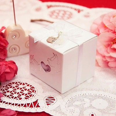 20 Traditional Love Dove Heart Favor Boxes Thank You Charm & Ribbons Kit Wedding - le petit pain