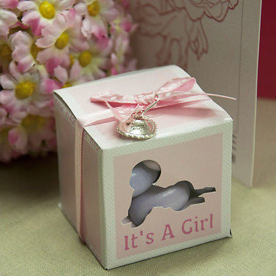 20 It's a Girl Pink Favor Baby Shower Boxes with Thank You Charms and Ribbon - le petit pain
