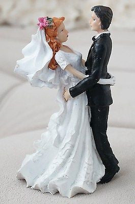 Vintage Bride and Groom Cake Topper Red Hair Flower in Hair- Le Petit Pain