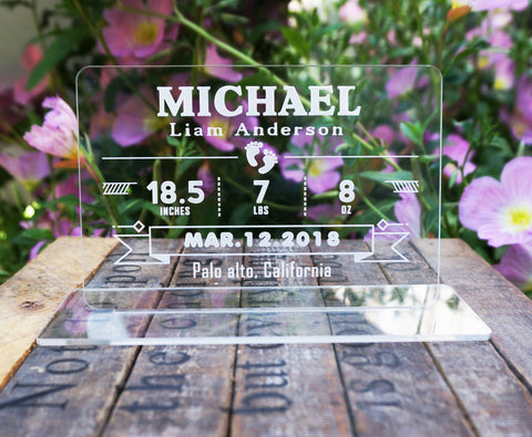 Personalized Baby Birth Stats Announcement Plaque with Base Name Date Weight