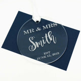Custom Personalized Mr and Mrs Last Name and Date Acrylic Ornament Christmas Gift