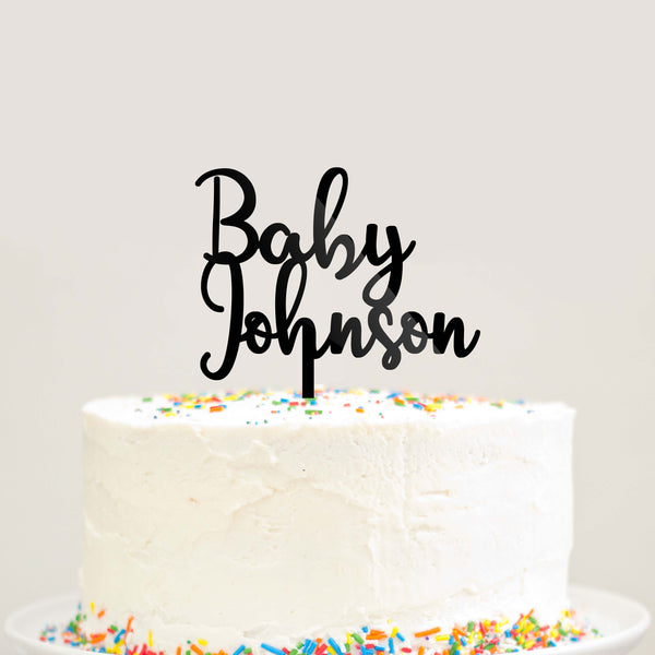 Custom Personalized Baby Last Name Baby Shower Cake Topper Modern Cursive