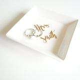 Custom Ceramic White and Gold Foil Small Jewelry Ring Holder Square Dish Personalized Mrs Name Gift- Le Petit Pain