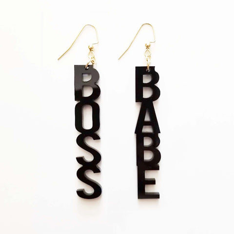 BOSS BABE Black Acrylic Earrings Woman Feminist Gift