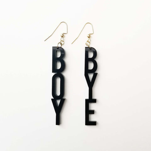 BOY BYE Block Letters Earrings Word Jewelry Acrylic Introvert Accessories