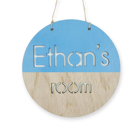 Custom Personalized Baby Blue Wooden Name Boys Room Sign Door Signage Home Bedroom Decor