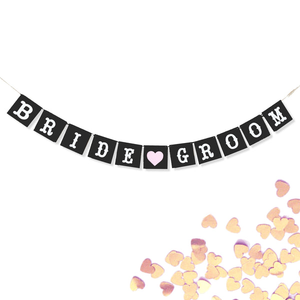 Bride and Groom Wedding Banner Photo Prop, Black and White Pink Heart Garland- Le Petit Pain