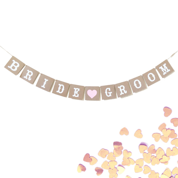Bride and Groom Wedding Banner Photo Prop, Kraft and White Pink Heart Garland- Le Petit Pain