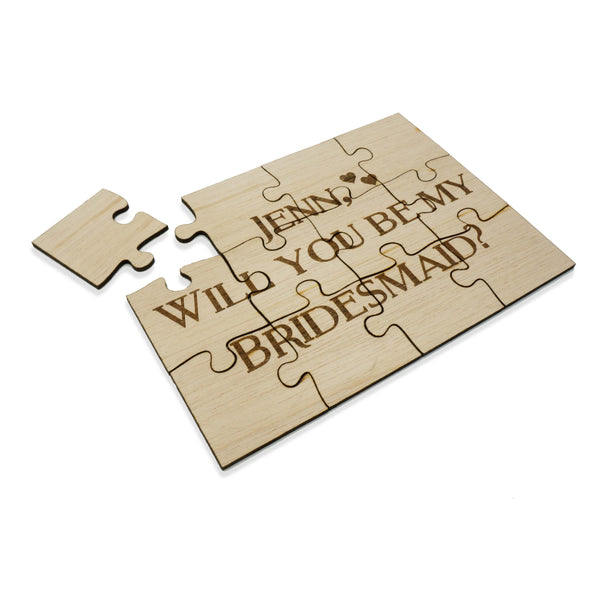 Unique Personalized Wood Jigsaw Puzzle Wedding Will you be my bridesmaid maid of honor flower girl 5x7- Le Petit Pain