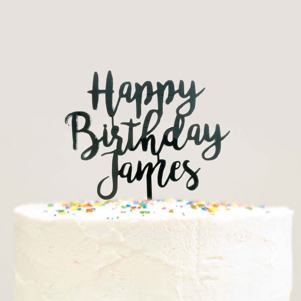Modern Cursive Custom Personalized Name Happy Birthday Cake Topper Black Acrylic Laser Cut Le Petit