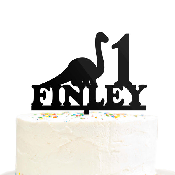 Custom Personalized Birthday Name Age Dinosaur Cake Topper Brontosaurus Acrylic