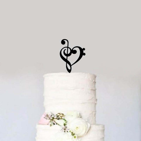 Black Treble Bass Clef Heart Wedding Cake Topper Musician Notes Birthday Cake