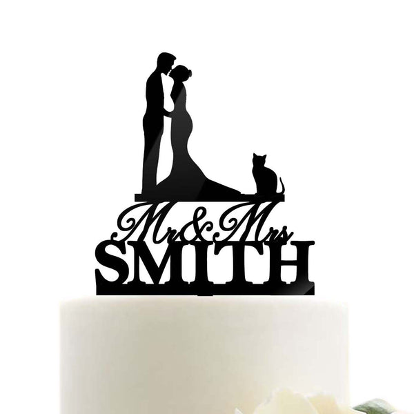 Custom Personalized Mr Mrs Name Wedding Cake Topper with Cat Mermaid Dress