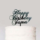 Classic Cursive Custom Personalized Name Happy Birthday Cake Topper Black Acrylic Laser Cut- Le Petit Pain