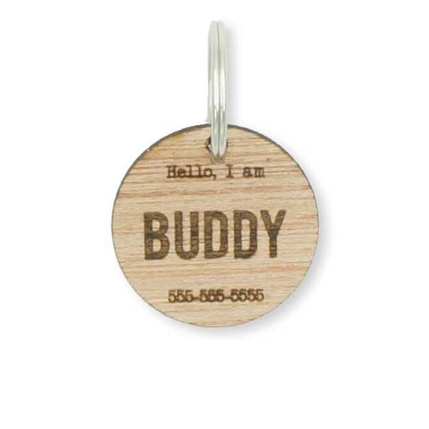 Custom Personalized Circle Hello Wood Pet Name Phone Number Identification Dog Tag Engraved Dog Collar- Le Petit Pain
