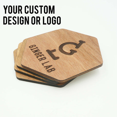 Custom Modern Hexagon Wooden Coasters Company Logo Design Your Design Drink Coasters Set of 6 - Le Petit Pain