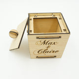 Custom Personalized Couples Names Wood Jewelry Box with Lid Wedding Engagement Industrial Couples Gift