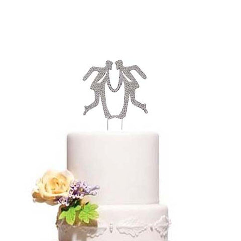 Gay Dancing Men Wedding Cake Topper Clear Rhinestones