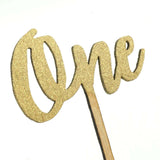 Gold Glitter One Cake Topper 1 Year Old Birthday Cake Modern Cursive Anniversary Cake Topper