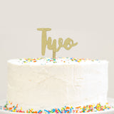 Gold Glitter Two Cake Topper 2 Year Old Birthday Cake Modern Cursive Anniversary Cake Topper