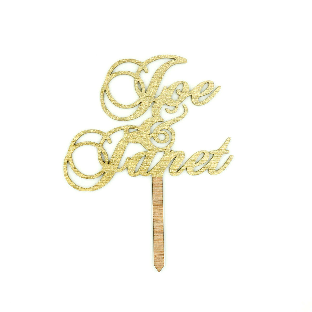Custom Gold Glitter Wedding Cake Topper Traditional Calligraphy ...