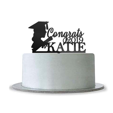 Custom Personalized Name Graduation Girl Woman Cake Topper