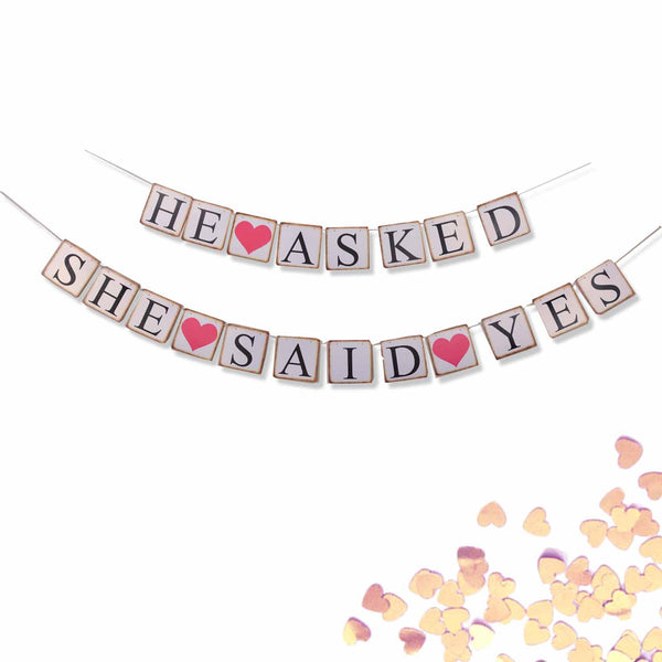 He Asked She Said Yes Wedding Banner Decoration Photo Prop Sign- 2 Banners- Le Petit Pain