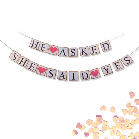 He Asked She Said Yes Wedding Banner Decoration Photo Prop Sign- 2 Banners