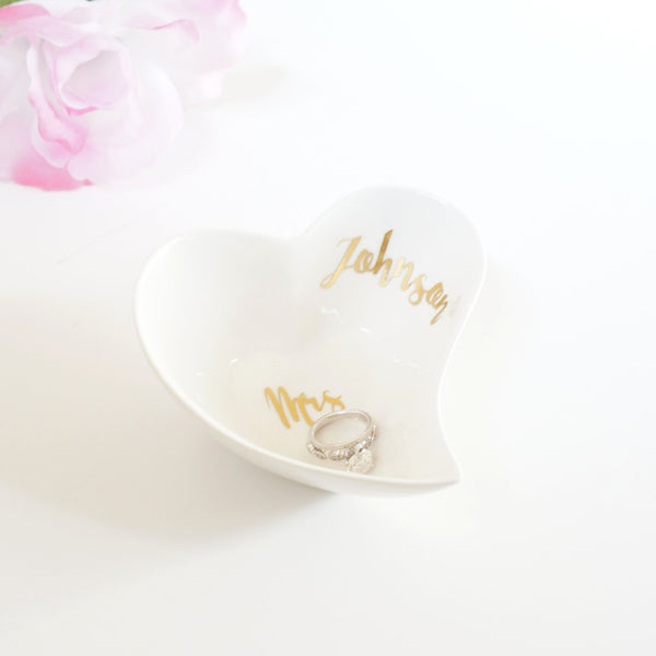 Custom Ceramic White and Gold Foil Small Jewelry Holder Heart Dish Unique Personalized Wedding Gift- Le Petit Pain