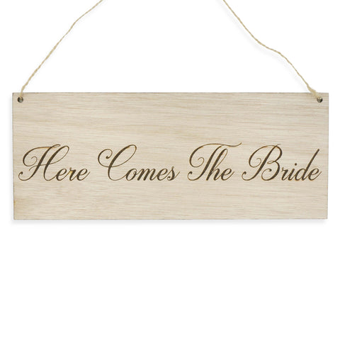Here Comes the Bride Wedding Signage Wooden Sign for Pets Dogs Children Laser Engraved