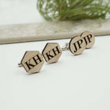 Custom Personalized Hexagon and Round Cuff Links Initial Monogram Wedding Party Favor Gifts