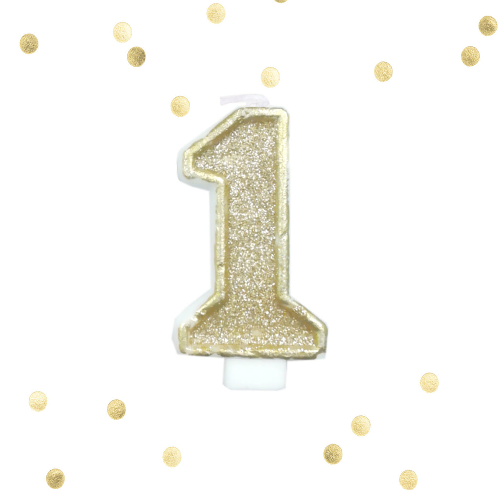 Light Gold Glitter 1st Birthday Candle Number 1 One Smash Cake Topper Le Petit Pain