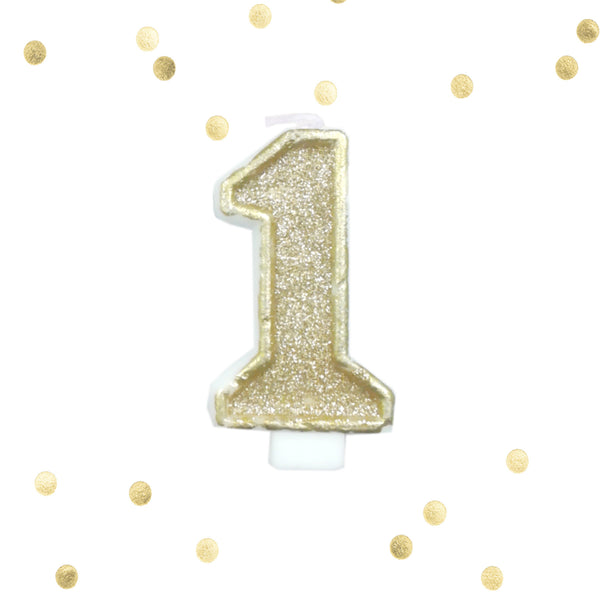 Light Gold Glitter 1st Birthday Candle Number 1 One Smash Cake Topper- Le Petit Pain