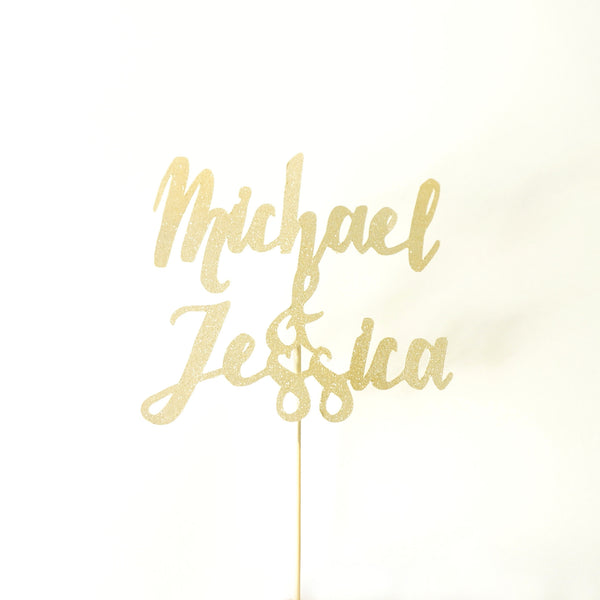 Custom Gold Glitter Wedding Cake Topper Modern Calligraphy Personalized Name Cake Topper Handmade Hand Painted- Le Petit Pain