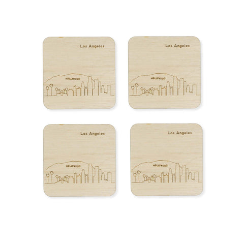 Custom Wood City Coasters Los Angeles Set of 4 Artisan Designed Laser Cut