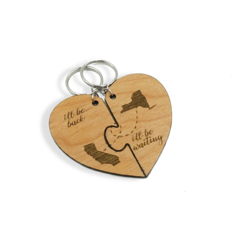 I'll Be Back I'll Be Waiting Custom Personalized Couples Friendship Going Away Gift Heart Puzzle Key chain