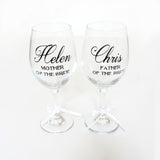 Mother of the Bride Gift, Father of the Bride Gift, Custom Personalized Wine Glasses, Mother Father of the Groom Gift,Wedding Party Gift- Le Petit Pain