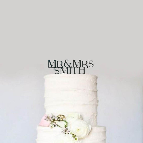 Custom Personalized Mr and Mrs Name Block Letters Modern Wedding Cake Topper- Le Petit Pain