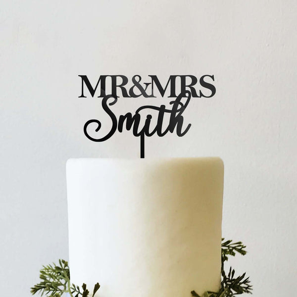 Personalized Mr and Mrs bride and groom Wedding Cake Topper Traditional Block Font and Script Cursive
