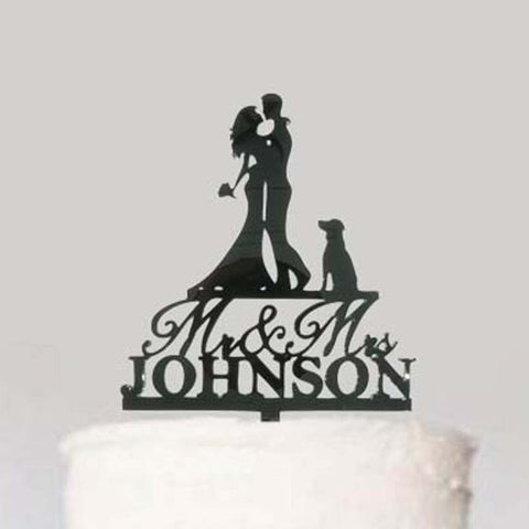 Custom Personalized Name Wedding Cake Topper with Dog