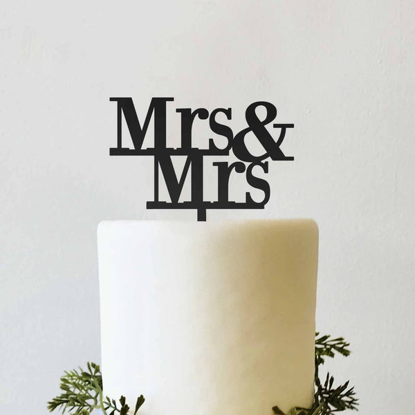 Mrs and Mrs Wedding Cake Topper Bride and Bride Woman Gay Lesbian Cake Topper